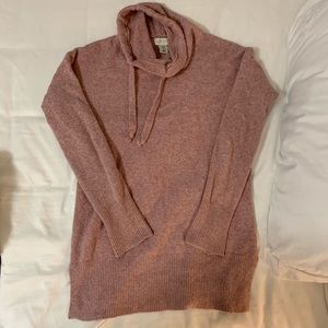 PINK COWL NECK TUNIC SWEATER WITH DRAWSTRINGS